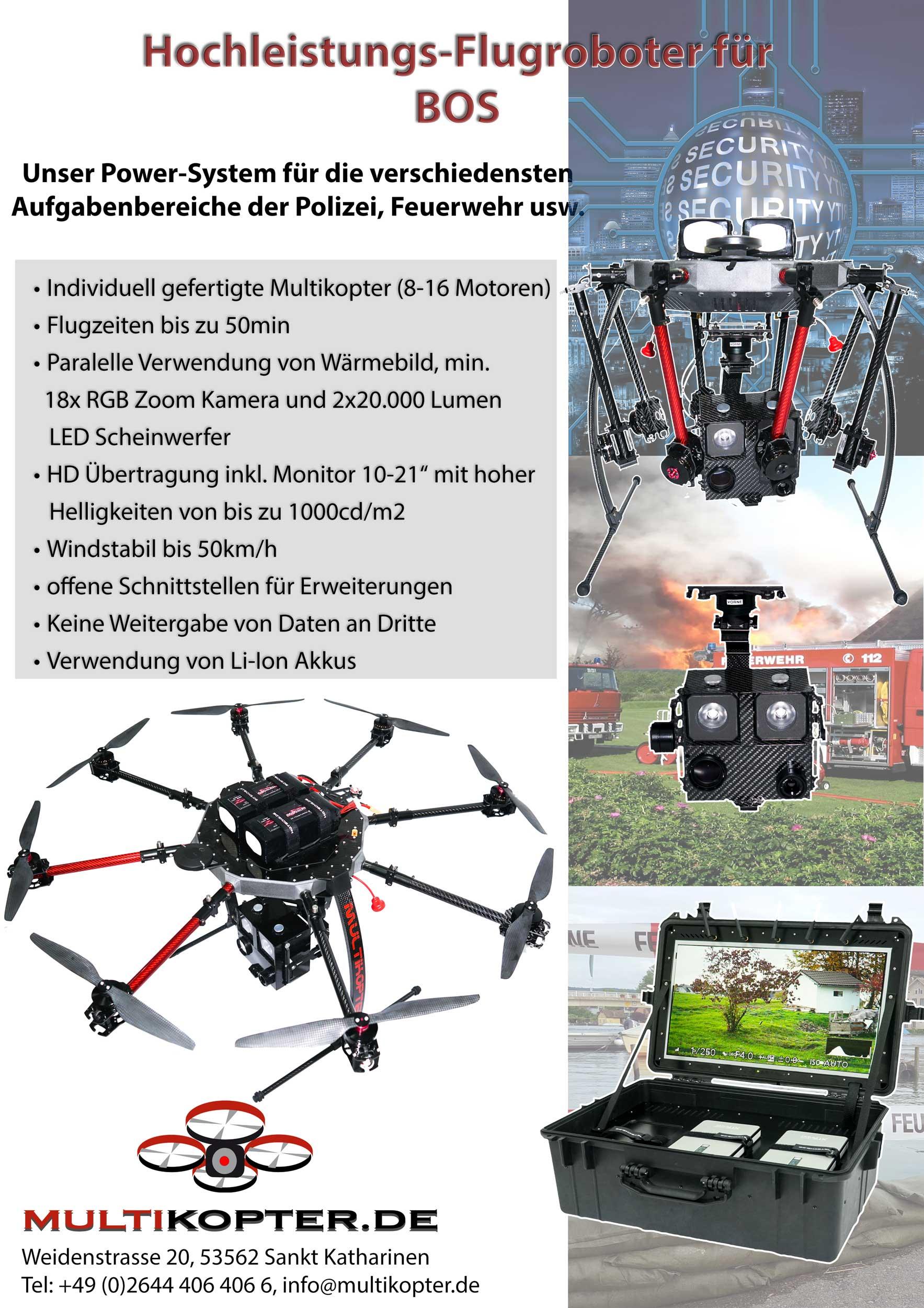 Flyer für den Einsatz von Drohnen UAV bei BOS