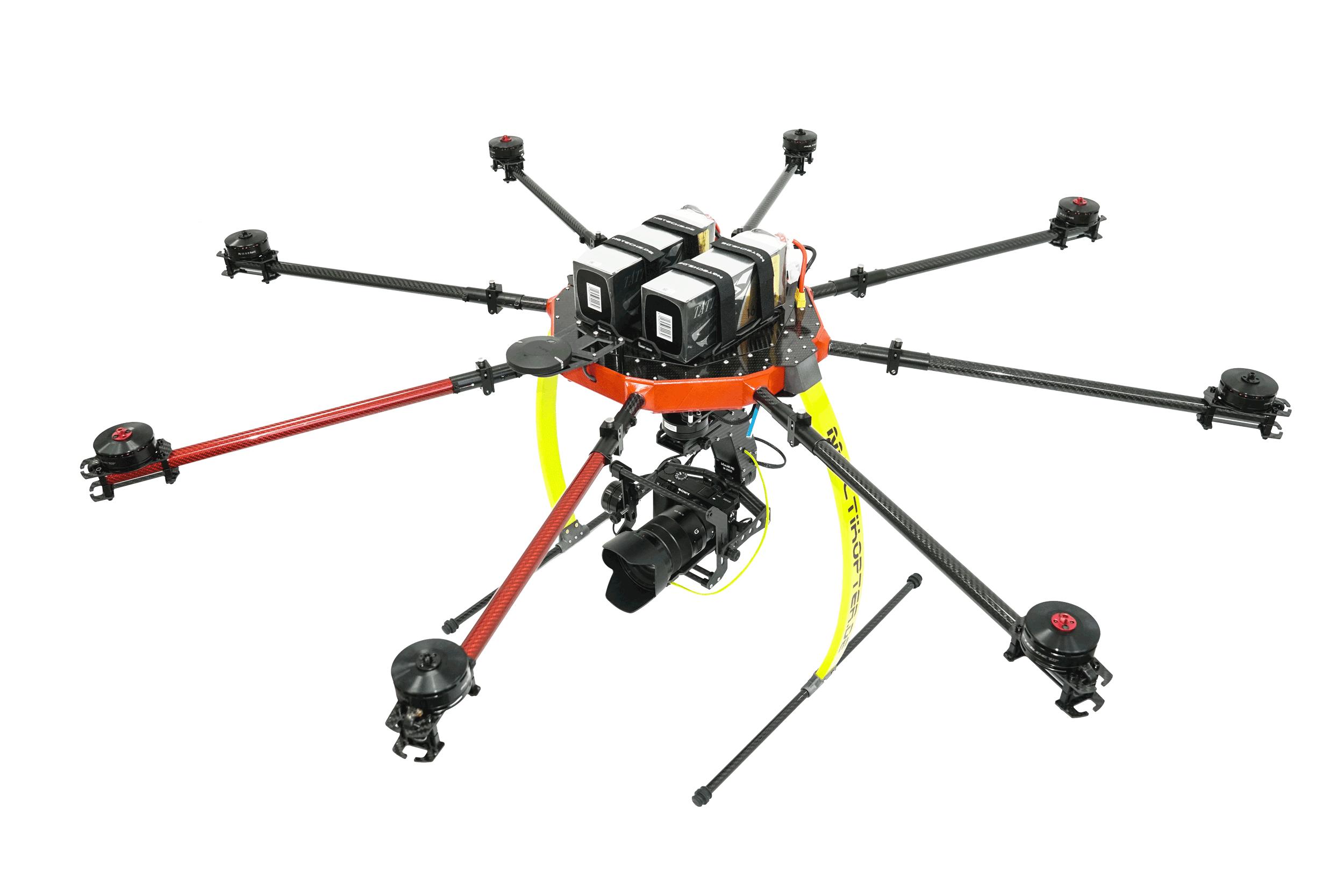 Drohne mit Sony Kamera und Zoom Objektiv
